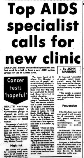 Article from the Herts Advertiser describing a top AIDS specialist calling for a new clinic in St Albans