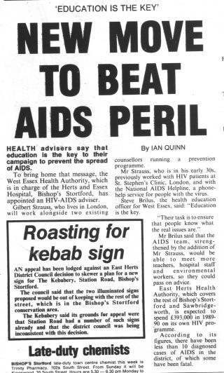 Article from the Herts and Essex Observer about the appointment of a new HIV-AIDS advisor