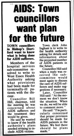 Article from the Herts and Essex Observer describing Town Councillors asking for a plan for tackling AIDS in the future.