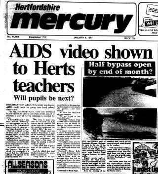 Article from the Hertfordshire Mercury reporting on an AIDS video being shown to teachers in Hertfordshire