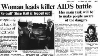 Article from the Hertfordshire Mercury about Liz Mantle who was responsible for HIV and AIDS education in East Hertfordshire