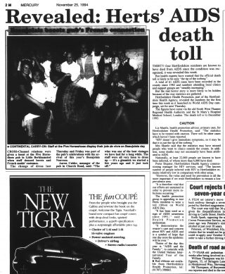 An article from the Hertfordshire Mercury detailing Hertfordshire's deathtoll from AIDS