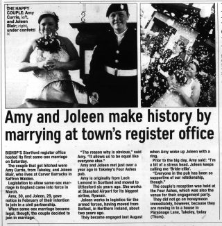 An article in the Bishops Stortford Observer about the town's first same-sex marriage. There are two photographs of the brides.   The Bishops Stortford Observer 08.05.2014