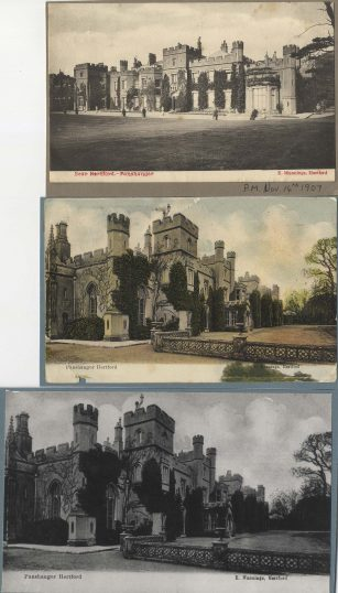 Three images of Panshanger House, showing different views of the house.   Hertfordshire Archives and Local Studies, Local Studies Library image collection.