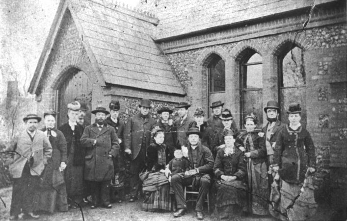 Group outside Flamstead School in 1869, b&w print | Eric Ashwood Collection