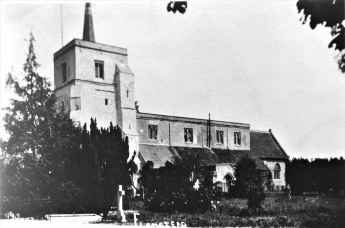 St Leonard's church, Flamstead, from south side, b&w print 1904 | Hilda Flitton collection