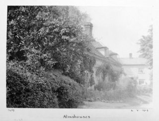 Block of 3 houses with front garden. Photo by A. Whitford Anderson.  Aug 1909 | Courtesy of Hertfordshire Archives and Local Studies ref DE/X1042/2/16b