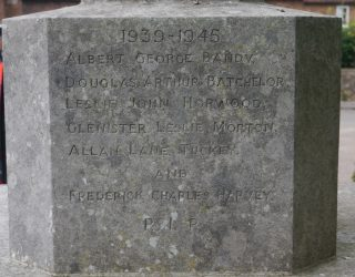 close up of WW2 names on Flamstead War Memorial