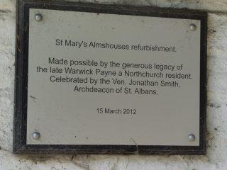 The refurbishment plaque, Northchurch almshouses.   Colin Wilson