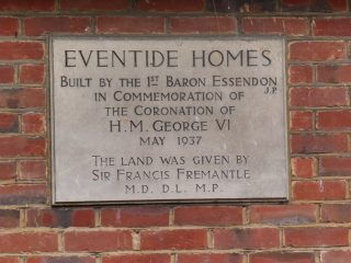 The dedication stone on the Eventide Homes. Sep 2016
