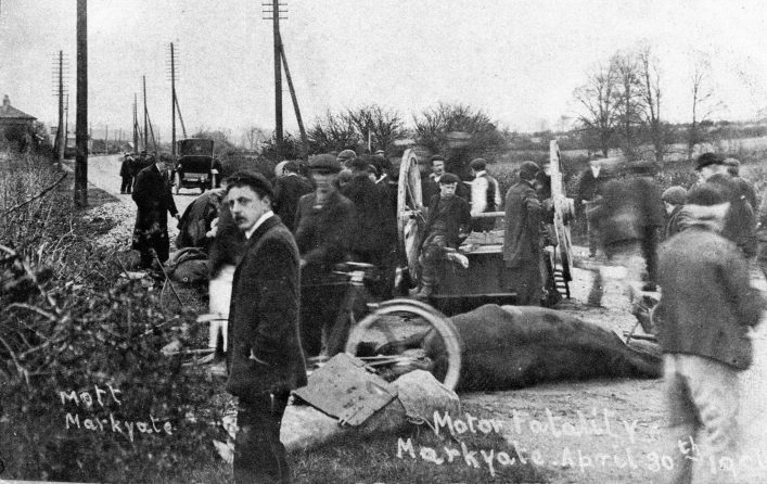 Road accident aftermath, cart and injured horse, and bystanders b&w photo   E Mott (C Motley postcard collection)