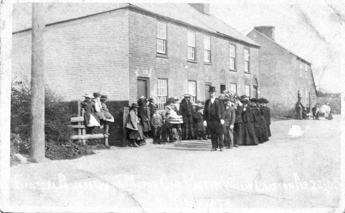 Funeral procession for road accident victim, Markyate 1905, b&w photo   E Mott (C Motley postcard collection)