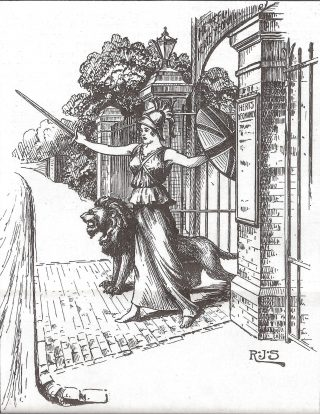 Britannia dressed in body armour & a skirt wielding a sword in her right hand in front of her and a shield in her left behind her outside a gate to the grounds of a supposed Hertfordshire Regiment establishment. There is a lion on her right hand side. Leading away from the gate is a series of stone pillars with metal fences between with trees and bushes showing behind the fence. | Hertfordshire Archives and Local Studies
