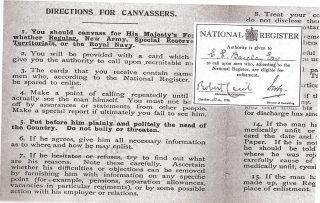 A list of instructions for people canvassing men who were eligible for enlistment in the army as a result of the National Register taken on 15th August 1915. Overlaying the right hand side of the directions is a copy of an authorisation for E.E. Barclay Esq to act as a canvasser signed by Robert Cecil, Chairman of Committee and Lord Derby | Hertfordshire Archives and Local Studies