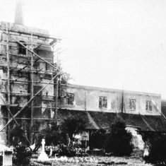St Leonard's church tower, under repair with scaffolding erected, b&w photo 1900sphoto from south side, b&w print undated | Greg Thomas Collection