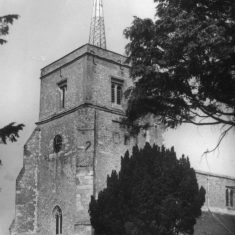 St Leonard's church tower from the southwest, in the 1910s b&w photo | C Motley postcard collection