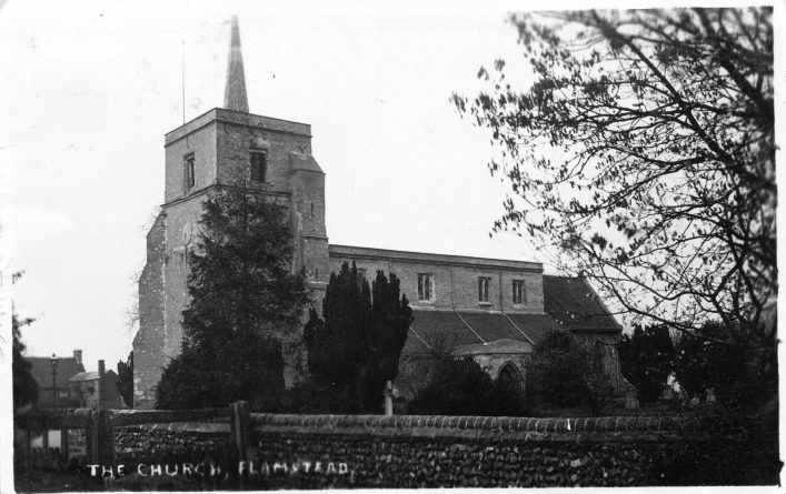 St Leonard's church, south side from Trowley Hill Road, b&w print 1910s | C Motley postcard collection