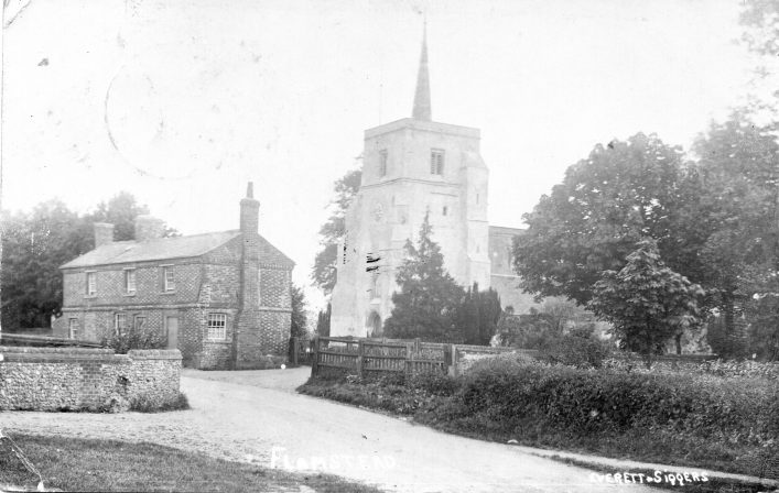 View towards St Leonard's church and Pound Cottage from Trowley Hill Road, b&w photo 1920s | Everett & Siggers (C Motley postcard collection)