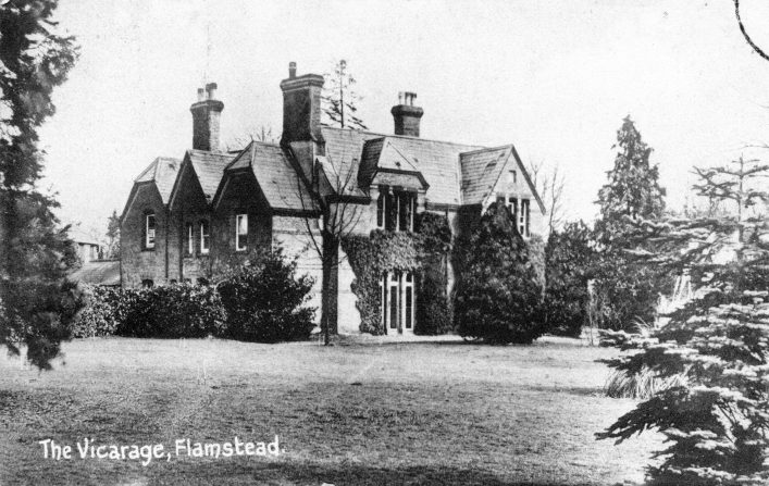 Old Vicarage and grounds, 1910s, b&w photo | C Motley postcard collection