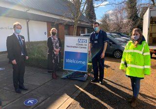 Julie Marson MP (second left) visits The Priory. Hannah Clarke (team leader, volunteers) on right. 2021 | Hannah Clarke