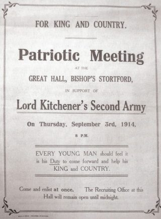 A poster for a patriotic meeting for Lord Kitchener's Second Army in Bishop's Stortford. | Hertfordshire Archives and Local Studies