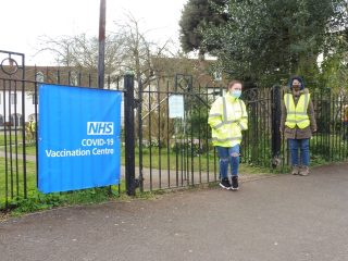Volunteers at the gate, ready to help. March 2021 | Colin Wilson