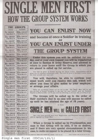 A poster encouraging men particularly single men either to enlist immediately or to enlist under the group system, Under this system the men would enlist for a day and then be sent home to be called later when their group was called up.. The groups were organised in order with single men of 18 in the first group all the way up to the 46th group for married men of 40. No one was to called up until he had attained the age of 19. | Hertfordshire Archives and Local Studies