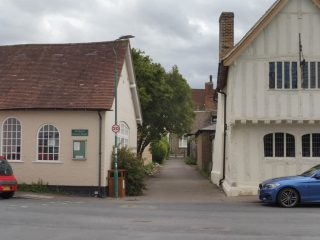 View along Alms Lane. Town House / museum to the right, St Mary's church hall on the left. Jul 2020 | Colin Wilson