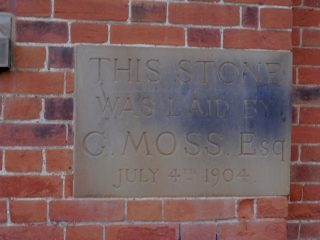 The foundation stone near the bottom of he left gable wall. Feb 2017 | Colin Wilson