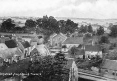 View northwest from the church tower - then and now