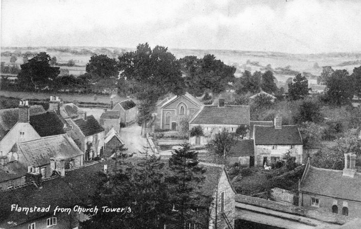 View from church tower towards Chapel Road, 1900s, b&w image | C Motley postcard collection