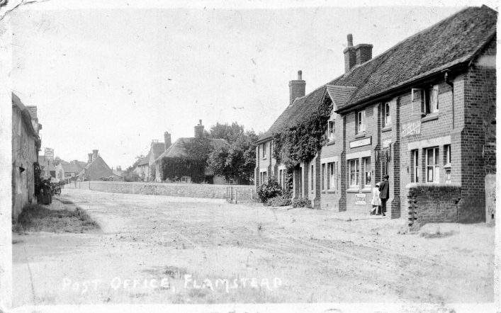 View up High Street towards Chapel Road, post office, houses and Spotted Dog, 1910s | Everett & Siggers (C Motley postcard collection)