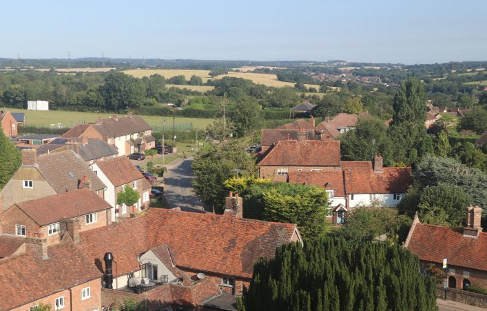 View from the tower of St Leonard's church, looking NNW in 2020, colour photo | Andrew Lambourne