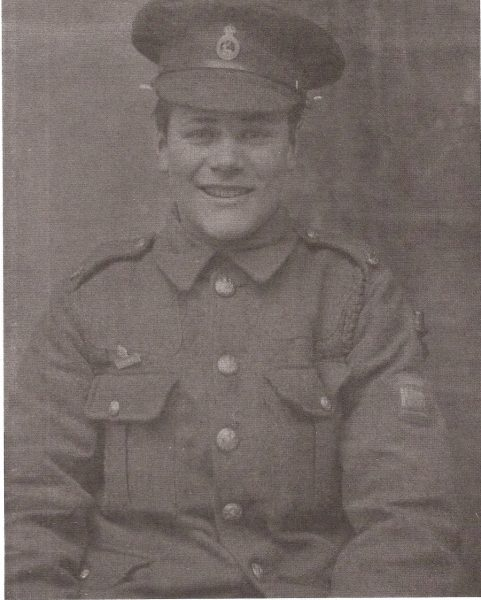 Photograph of Frederick Percy Gee in his uniform. Frederick was from Thorley and was already in the 1st Hertfordshire Regiment at the outbreak of war.. He was sent to France in 1914 aged 14. Fred survived the war and was demobilised in April 1919. | Hertfordshire Archives and Local Studies