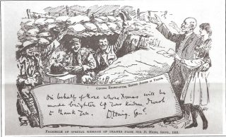 Special 'thank you' postcard facsimilie from Douglas Hiag, depicting three happy men in a bunker; two are waving and the one in the middle is about to serve a plum pudding. To the right of the bunker are an old man and a young girl smiling and waving back at the soldiers. Underneath the bunker is a hand written message from D. Haig 'On behalf of those whose Xmas will be made brighter by your kindness. Dated September 19116. | Hertfordshire Archives and Local Studies