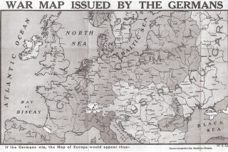 War Map purported to be issued by Germans showing all countries west of Austria Hungary as Great Germany and Great Britian as a German Colony