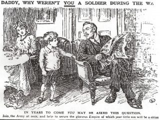 The living room in a comfortable house with to the right a man wearing a pin striped suit ,with a paper in his hands, sitting in an armchair, looking aghast when his son asks him the question