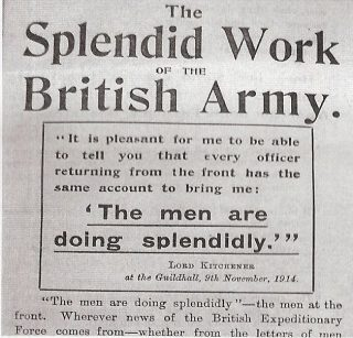A poster headed 'The Splendid Work of the British Army.' It continues by quoting Lord Kitchener, dated 5th November 1914 at The Guildhall 'It is pleasant for me to be able to tell you that every officer returning from the front has the same account to bring me: The men are doing splendidly.' | Hertfordshire Archives and Local Studies