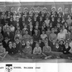 The whole school is assembled presumably in the playground for a photograph.