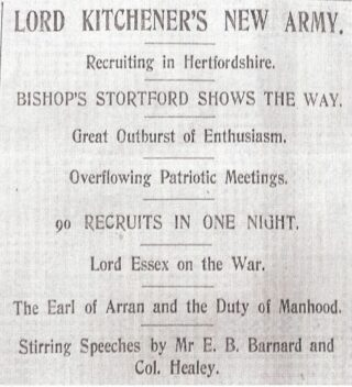 Poster for Lord Kitchener's New Army, recruiting in Hertfordshire, 90 men recruited in one night in Bishop's Stortford | Herts & Essex Observer, 1915