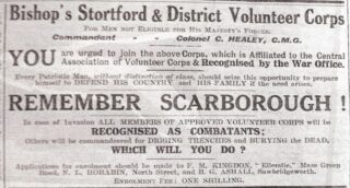 Poster urging men to join Bishop's Stortford & District Volunteer Corps using the slogan 'Remember Scarborough' - two battleships bombarded Scarborough killin | Herts & Essex Observer, 1915