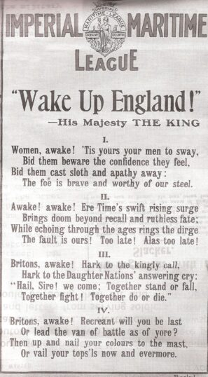 A poem from a larger poster which contains the Union Jack and the slogan Keep the Flag Flying. The poem is titled