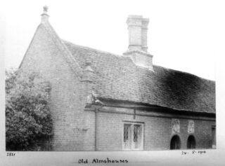 Detail view of Saunders almshouse. photograph by A Whitford Anderson 1898 | Courtesy of Hertfordshire Archives and Local Studies ref DE/X1042/2/23ab