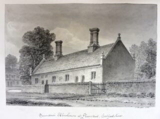 Saunders almshouse, drawn by Buckler c1832 | Courtesy of Hertfordshire Archives and Local Studies ref DZ/119/3/368A