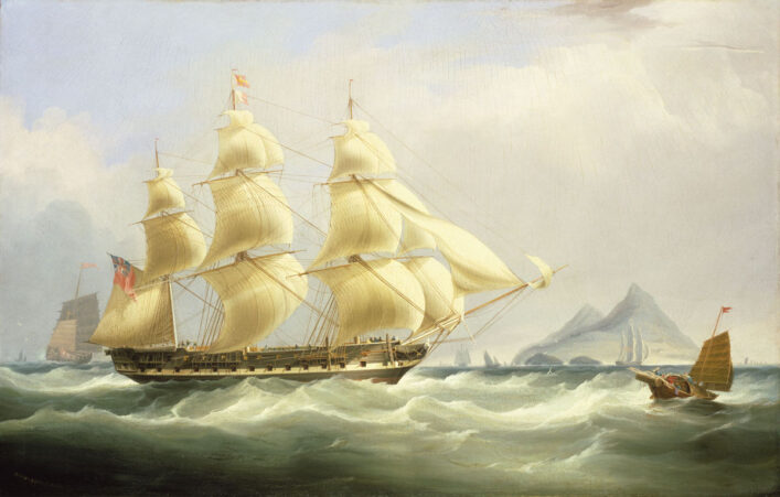 Oli painting of large sailing boat with three masts on a stormy sea | National Maritime Museum, Greenwich, London