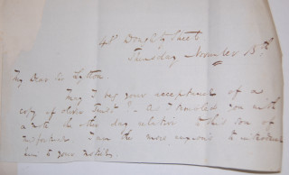 Dickens asks Bulwer to accept a copy of Oliver Twist [undated]