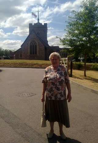 Jean Andrews in front of St Ippolyts Church | Fiona MacDonald