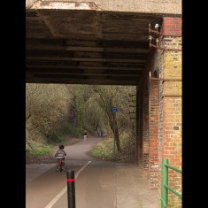 The track beneath London Road bridge, St Albans, looking east. The steelwork of the railway telegraph survives; March 2010. | © St Albans Museums