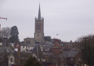 View over rooftops to St. Michael's church, taken from edge of Town Park. | © Richard Brockbank 2009