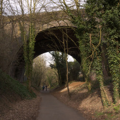 The 60-foot arch of the 1868 Midland Railway Bridge, St Albans, looking east up the long haul to The Camp, March 2010. | © St Albans Museums